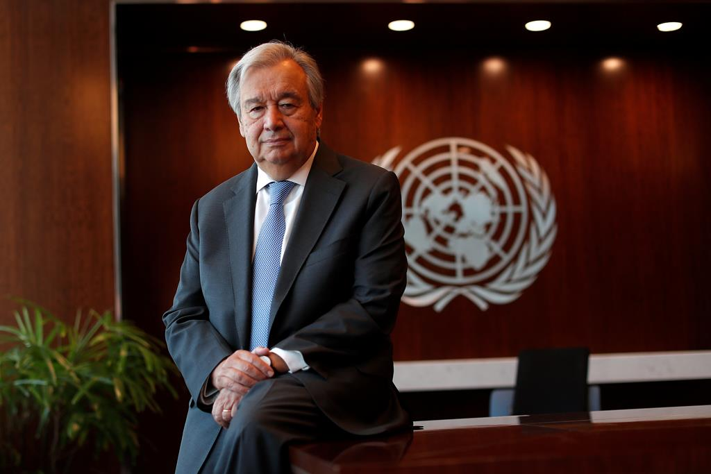 António Guterres, na sede da ONU, em Nova Iorque. Foto: Mike Segar/Reuters
