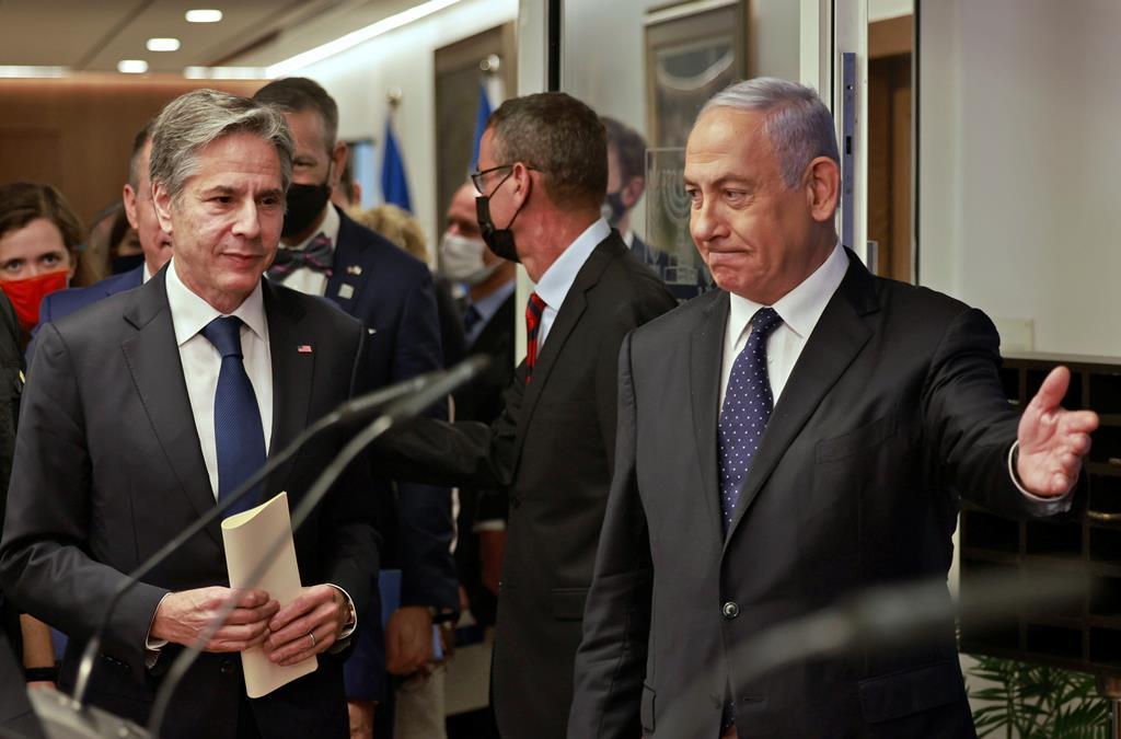 Antony Blinken encontrou-se com Benjamin Netanyahu em Jerusalém. Foto: Reuters