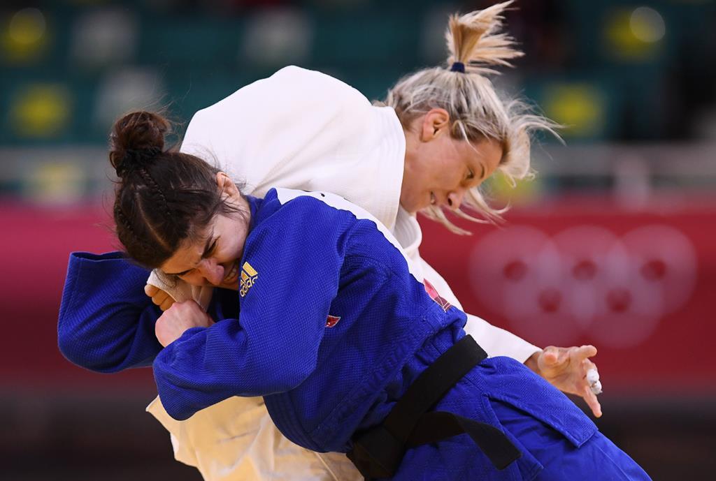 "Telma Monteiro eliminada no ""golden score"". Foto: Annegret Hilse/Reuters"
