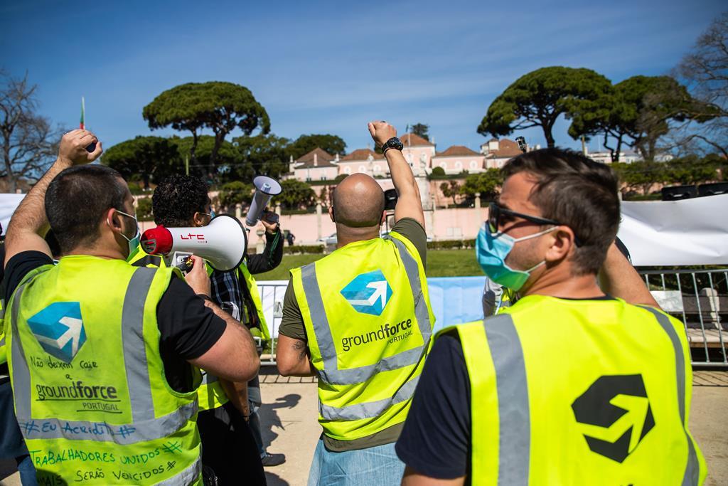 Manifestação de trabalhadores da SPdH Groundforce Foto: José Sena Goulão/Lusa