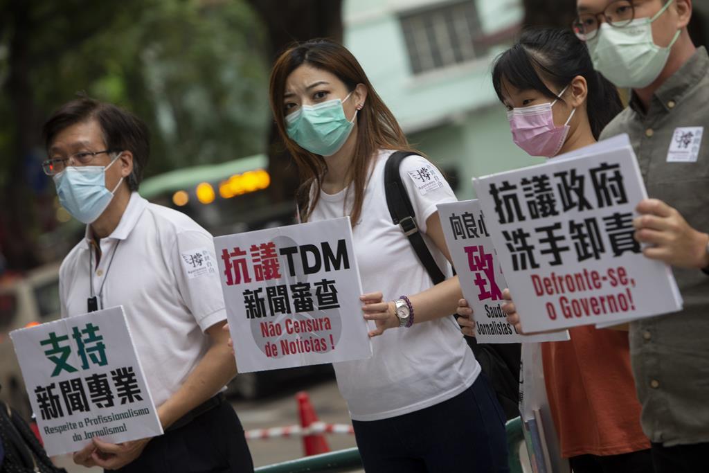 Manifestação contra a opressão do regime em Macau. Foto: Carmo Correia/Lusa