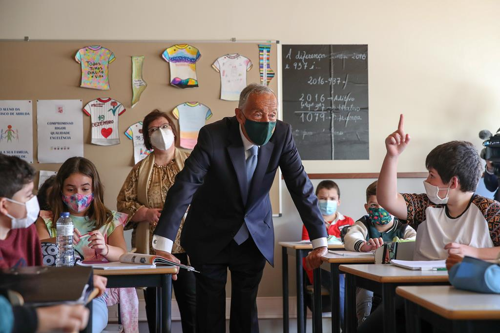 Marcelo Rebelo de Sousa visita a Escola Básica Francisco de Arruda, em Lisboa. Foto: Manuel De Almeida/Lusa