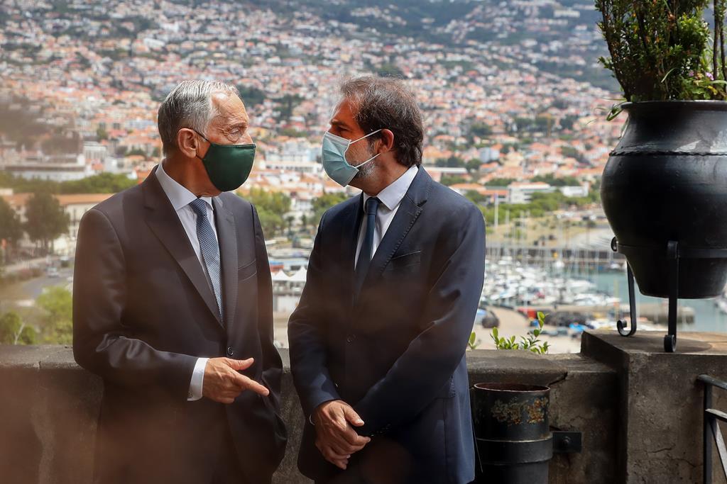 Marcelo com o presidente do Governo Regional da Madeira, Miguel Albuquerque. Foto: Homem De Gouveia/Lusa