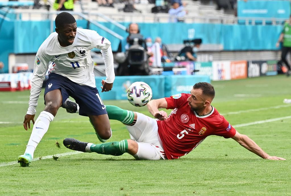Dembelé lesionou-se no jogo com a Hungria Foto: Tibor Illyes/Pool/EPA