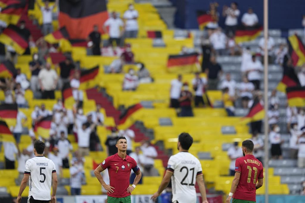 Cristiano Ronaldo integra lote de melhores marcadores do Euro 2020, com três golos. Foto: Hugo Delgado/Lusa