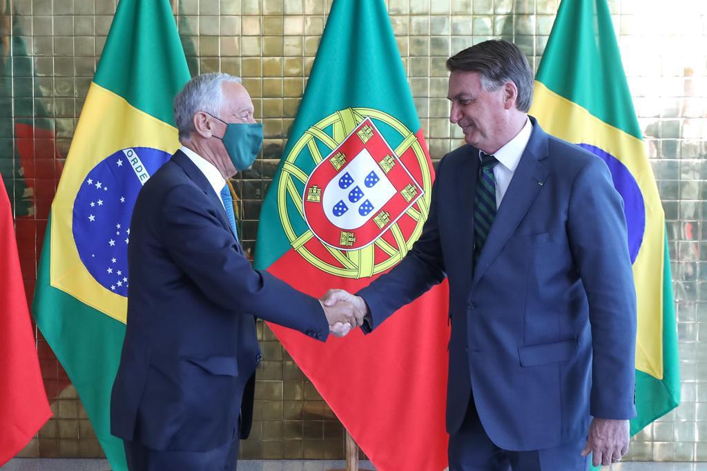 Marcelo Rebelo de Sousa e Jair Bolsonaro encontraram-se esta segunda-feira Foto: Marcos Correa/Government Of Brazil Handout/EPA