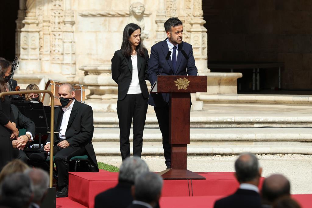 Filhos de Jorge Sampaio discursam na sessão solene de homenagem ao ex-Presidente no Mosteiro dos Jerónimos. Foto: Miguel A. Lopes/Lusa