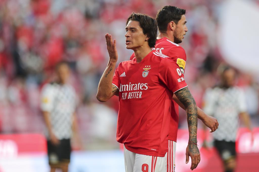 Darwin Nunez marca pelo Benfica ao Boavista. Foto: Miguel A. Lopes/EPA