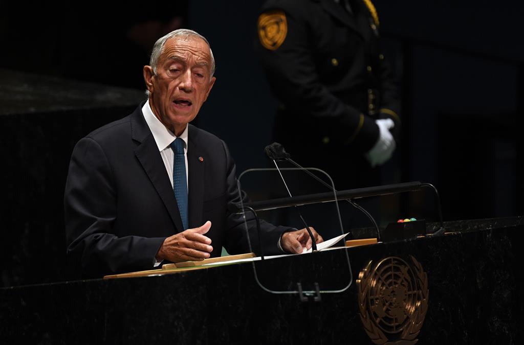 Marcelo Rebelo de Sousa na ONU. Foto: Timothy A. Clary / Pool/EPA