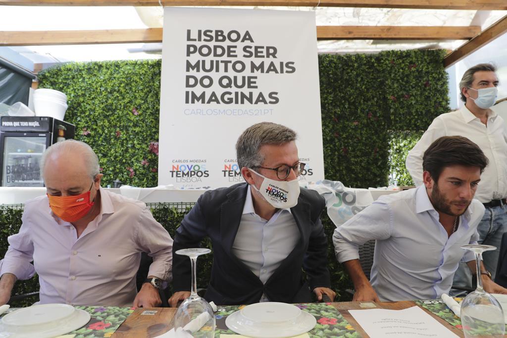 Rui Rio, Carlos Moedas e Francisco Rodrigues dos Santos em almoço de apoio a Carlos Moedas. Foto: Tiago Petinga/Lusa