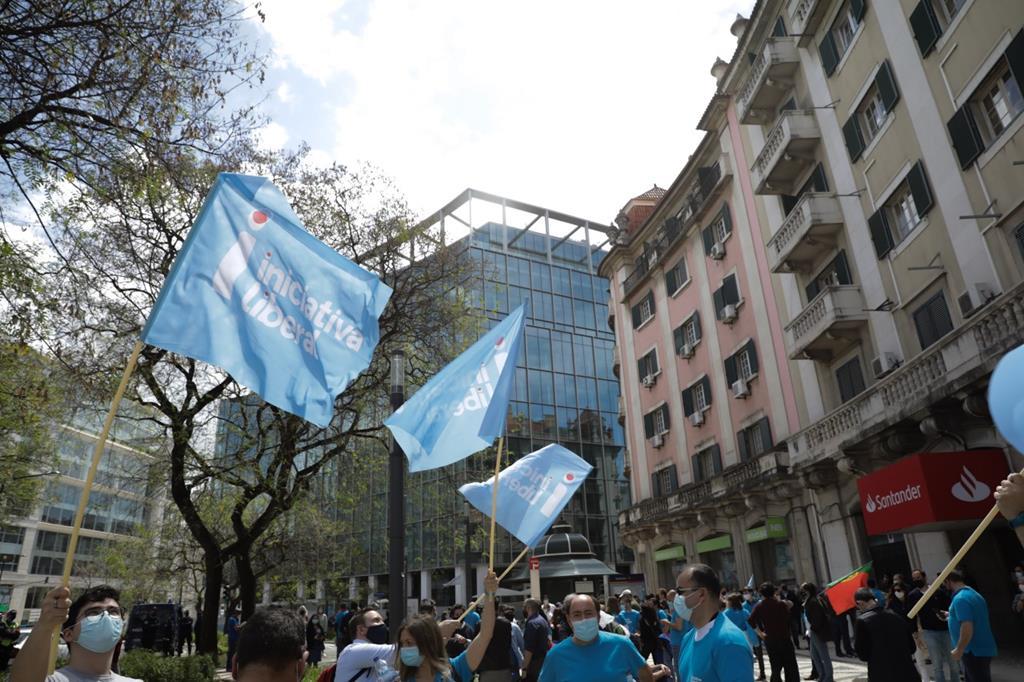 Iniciativa Liberal no seu próprio desfile, este domingo. Foto: Héliio Carvalho/RR