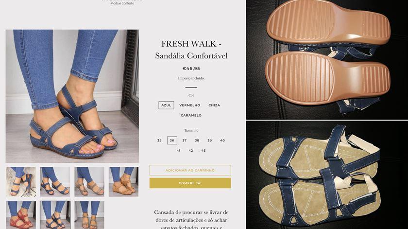 À esquerda, as sandálias que Ana comprou na A Pé nas Nuvens. À direita, o que recebeu em casa