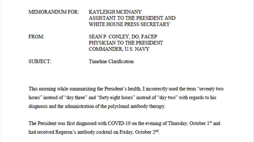 Comunicado do médico de Donald Trump. Foto: Casa Branca