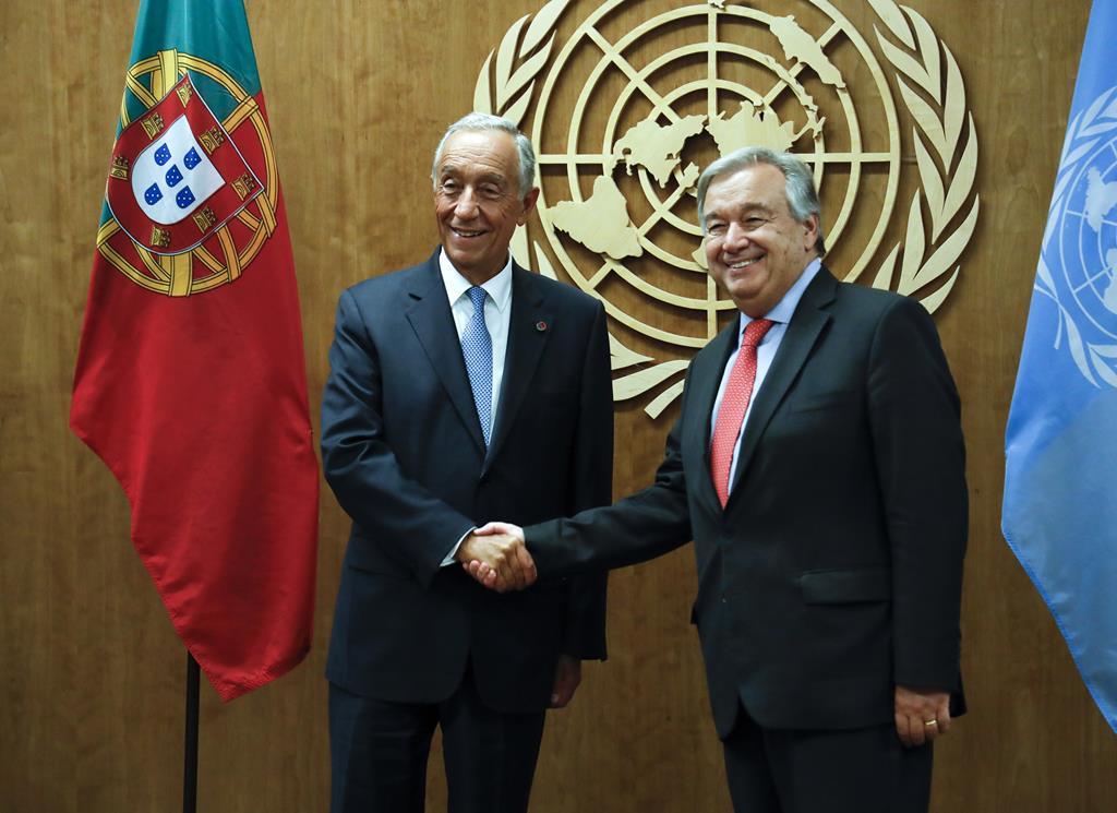 Marcelo Rebelo de Sousa e António Guterres, ONU. Foto: Jason Szenes/EPA (arquivo)
