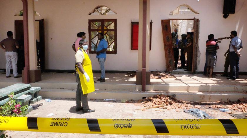 Uma das igrejas alvo de explosão este domingo. Foto: STR/EPA