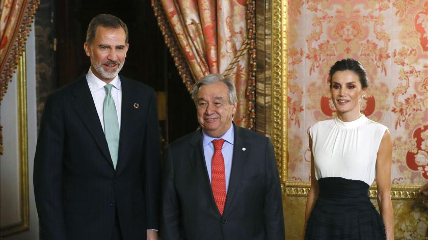 Rei Felipe VI, António Guterres e rainha Letizia. Foto: EPA
