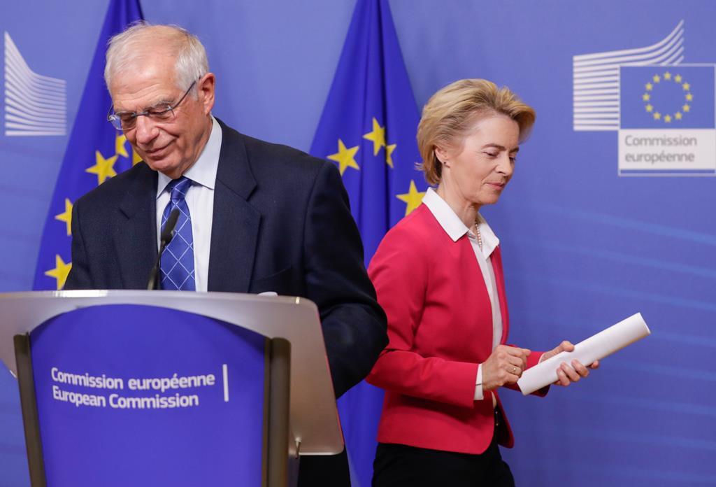 Josep Borrell propõe sanções à Rússia por causa da detenção e condenação de Navalny. Foto: Stephanie Lecocq/EPA