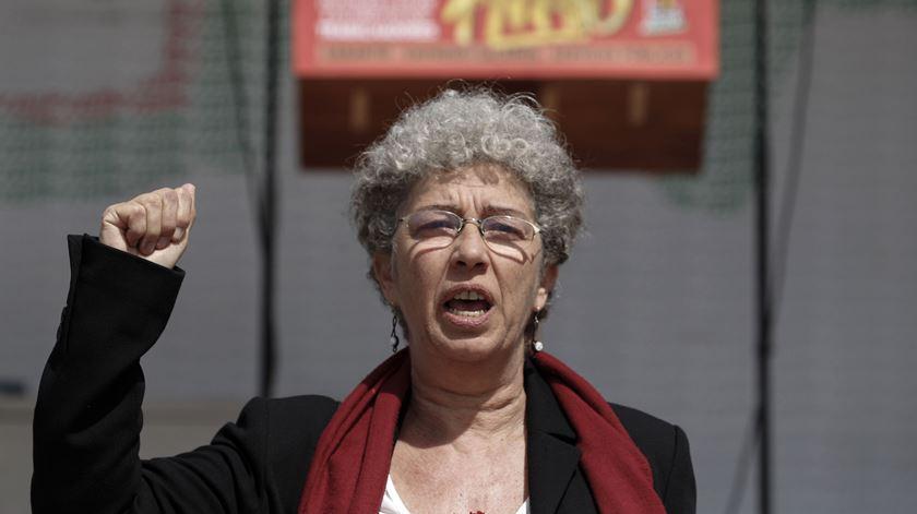 Isabel Camarinha estreou-se neste Dia do Trabalhador em pandemia na qualidade de secretária-geral da CGTP. Foto: António Cotrim/Lusa