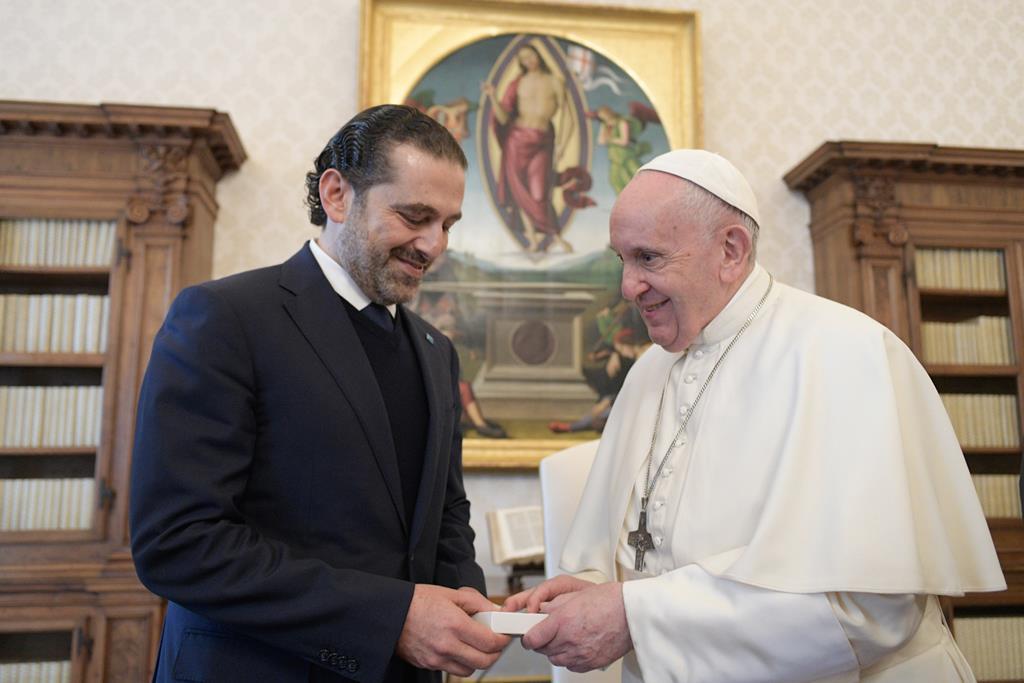 O primeiro-ministro indigitado do Líbano, Saad Hariri, com o Papa. Foto: Vaticano