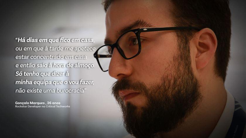 """Gonçalo Marques, """"Rockstar Developer"""" na Critical Techworks. Foto: Marília Freitas/RR"""