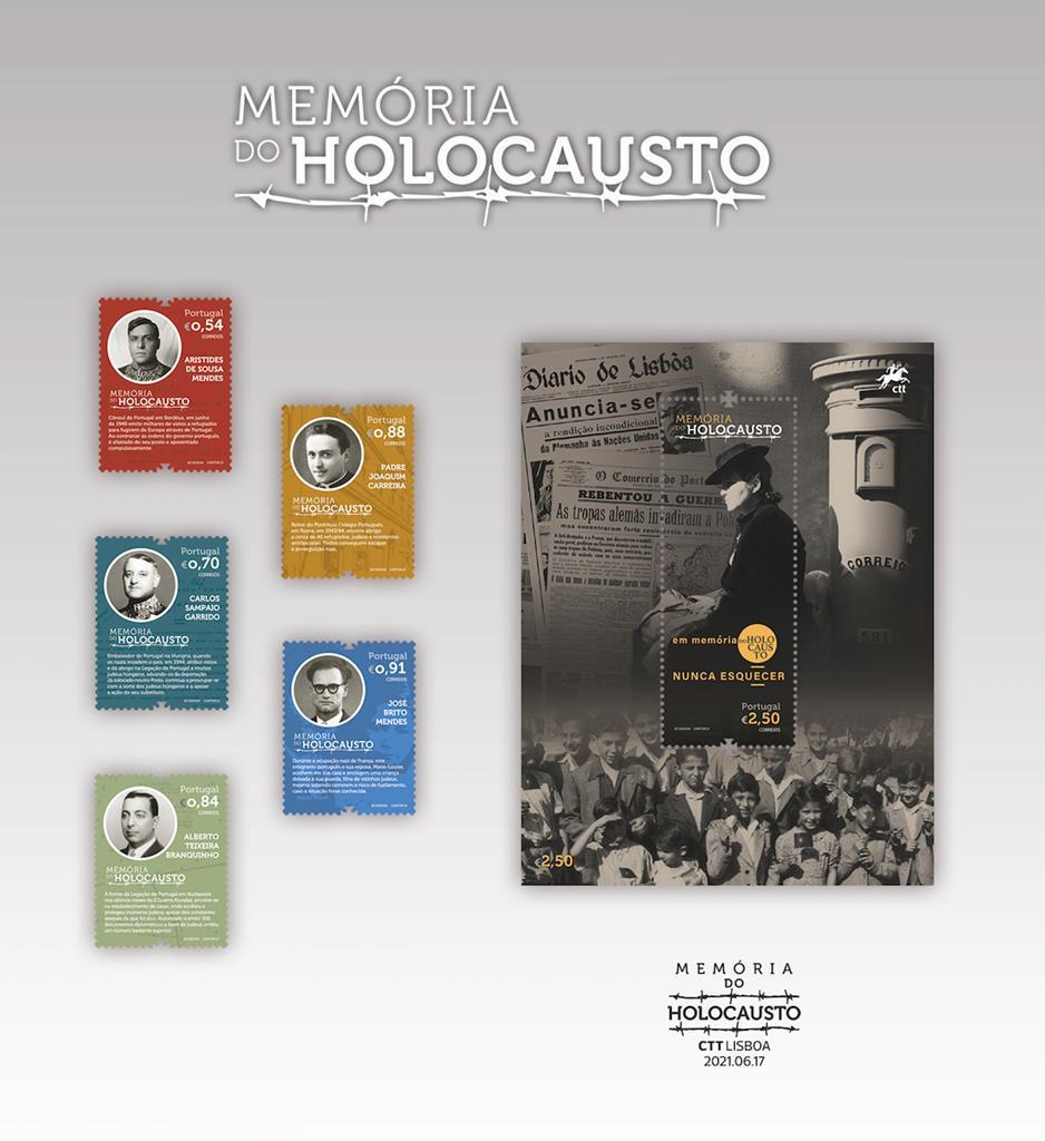 Selos comemorativos de portugueses que salvaram judeus no holocausto. Foto: CTT