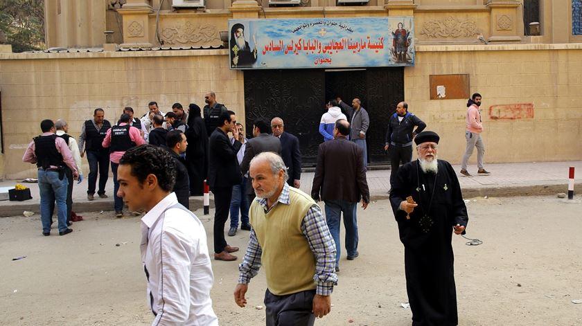 Igreja de Mar Mina, em Helwan, no Egipto. Foto: Khaled Elfiqi/EPA