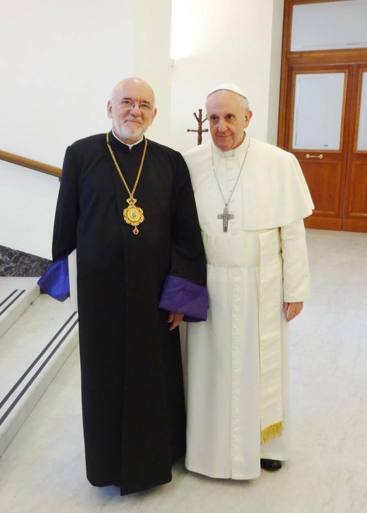 Gregório Pedro XX, Patriarca da Cilícia dos Arménios Católicos, com o Papa Francisco. Foto: DR
