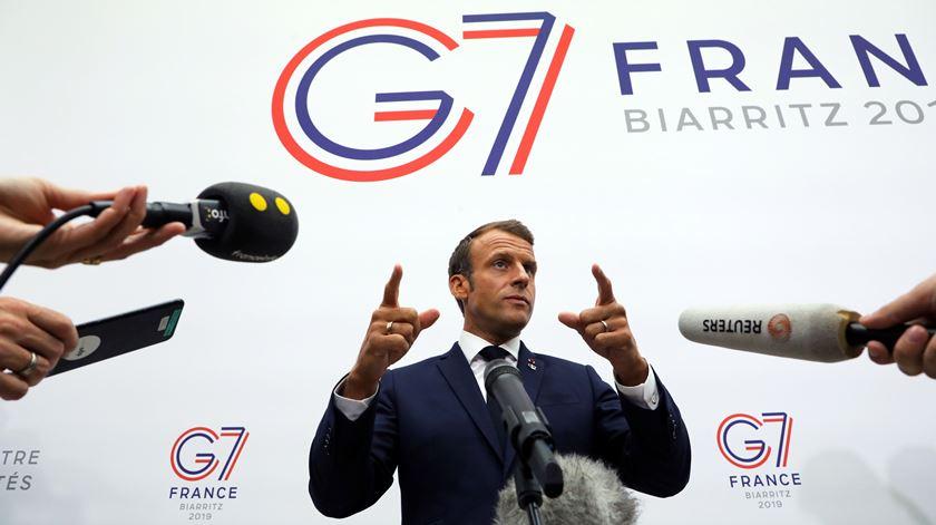Macron defendeu a relevância da OMS numa reunião do G7 Foto: Ludovic Marin/Epa