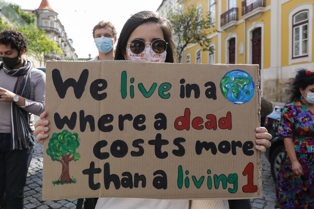 Jovens em marcha pelo clima em Lisboa. Foto: Paulo Novais/Lusa