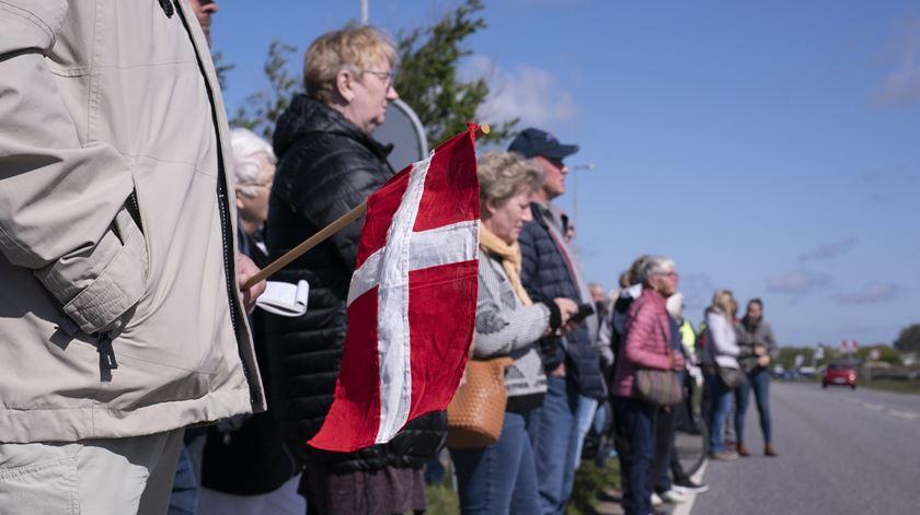 Manifestação na Dinamarca a pedir a reabertura da fronteira com a Alemanha. Foto: Claus Fisker/EPA