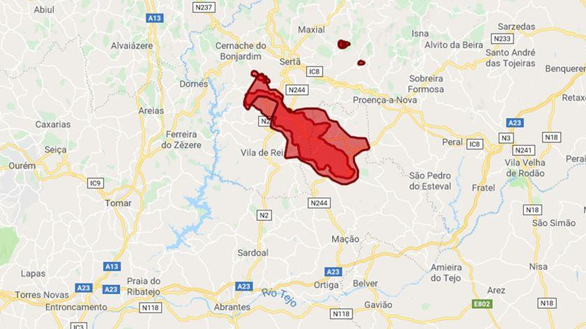 Área ardida nos distritos de Castelo Branco e Santarémm, entre 21 e 22 de Julho de 2019.