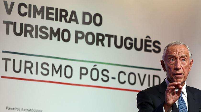 Marcelo discursou na 5.ª Cimeira do Turismo Português. Foto: Manuel de Almeida/Lusa