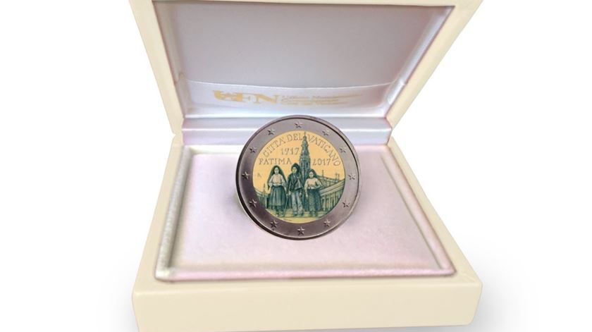 Moeda de dois euros comemorativa de Fátima. Foto: Twitter