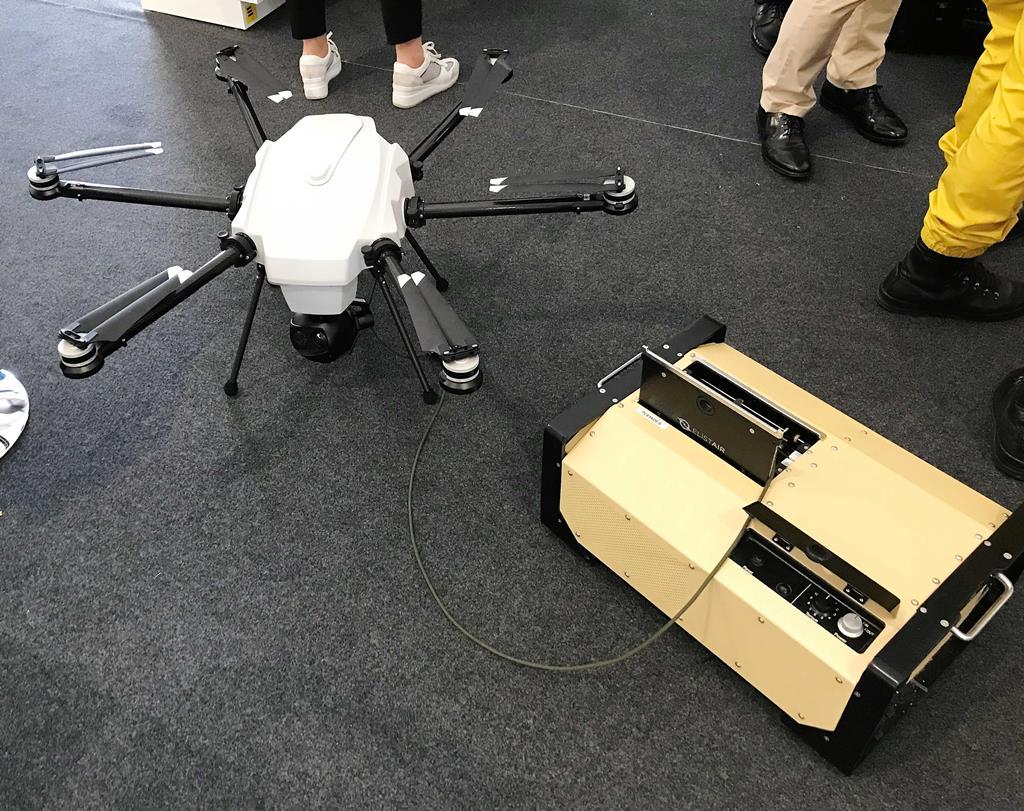 ORION2 é o drone com cabo que está em exposição na cimeira aéronautica de Ponte de Sor. Foto: Rosário Silva/RR