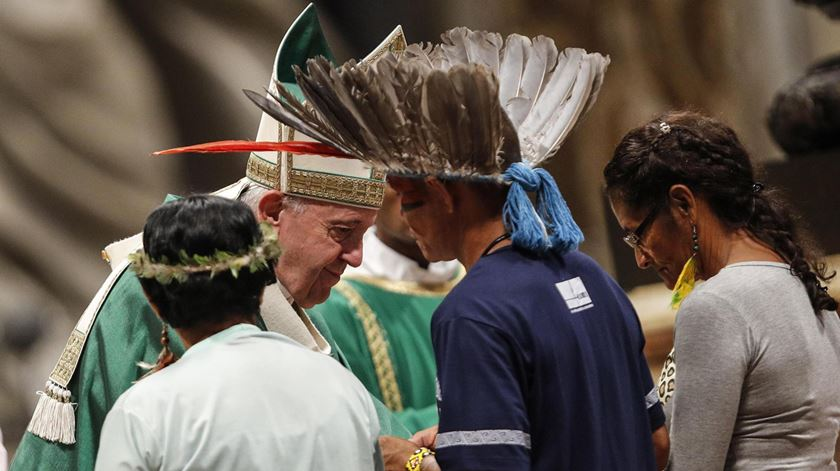 Papa no Sínodo da Amazónia. Foto: Giuseppe Lami/EPA