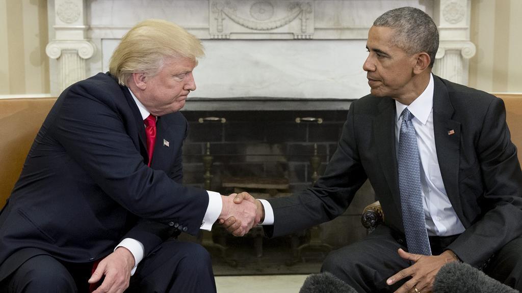 Primeiro encontro entre Donald Trump e Barack Obama na Casa Branca, em novembro de 2016. Foto: Michael Reynolds/EPA