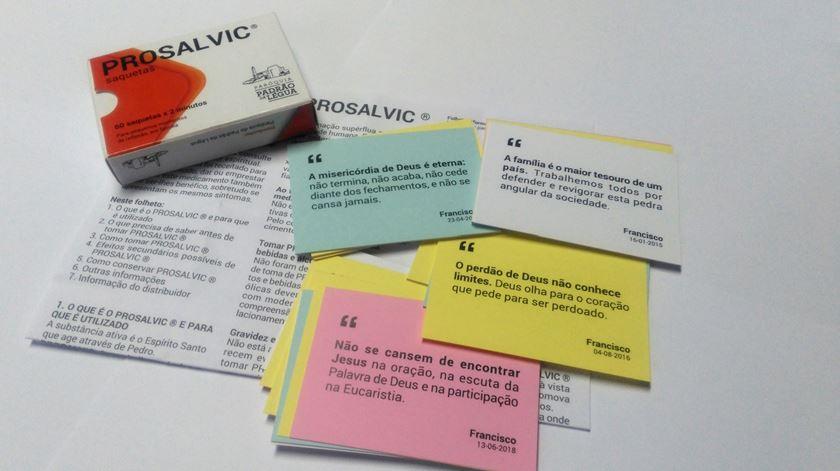 Prosalvic, o medicamento que salva, com tweets fo Papa Francisco. Foto: Paróquia do Padrão de Légua