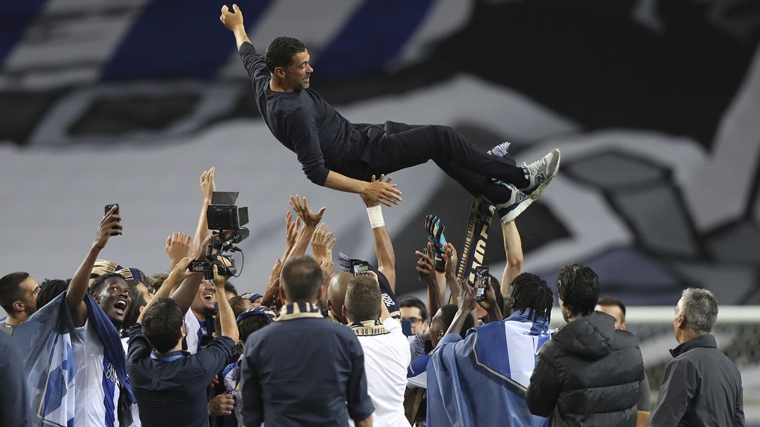 Sérgio Conceição tornou-se o 10.º treinador do FC Porto a ser campeão duas vezes pelo clube. Foto: José Coelho/Lusa