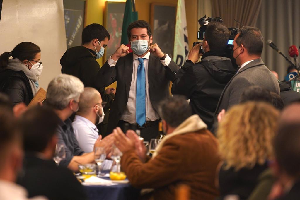 Ventura no Jantar-Comício em Braga, que está a ser investigado. Foto: Hugo Delgado/Lusa