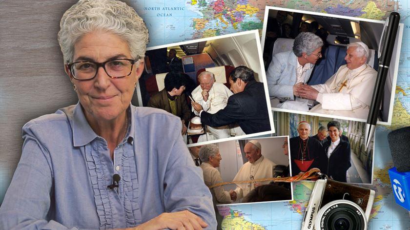 A vaticanista portuguesa Aura Miguel já efetuou 100 viagens com três Papas diferentes. Foto: RR