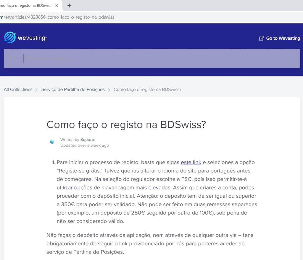 """No site da Wevesting, a empresa diz aos clientes para escolherem o regulador FSC, que permitirá """"utilizar opções de alavancagem mais elevadas"""". A FSC é a entidade reguladora da República da Maurícia. No texto atual, o texto já não menciona a FSC"""
