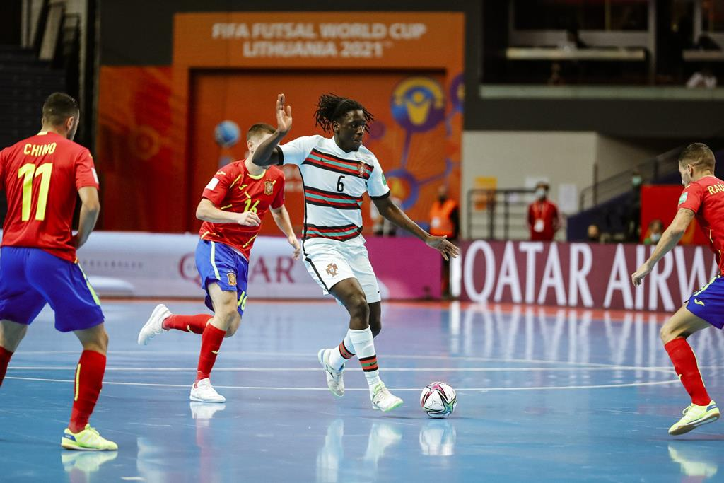 Zicky marcou um dos golos de Portugal contra a Espanha, no Mundial de futsal. Foto: FPF